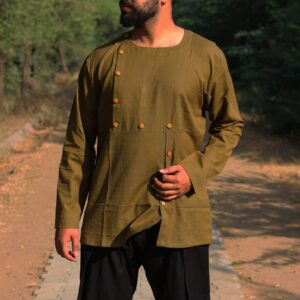 OLIVE GREEN ABSTRACT SHIRT